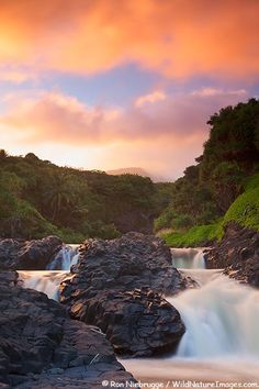 Sunset at  Ohe'o Gulch aka Seven Sacred Pools in Haleakala National Park, Maui, Hawaii