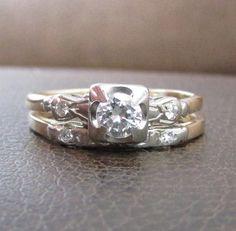 Art Deco Two Tone Diamond Bridal Set  Classic and by Ringtique