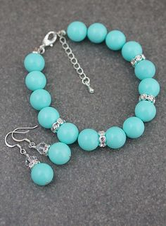 Tiffany Blue Color Shell Pearl Bridal Jewelry Set from EarringsNation Tiffany Blue Weddings Turquoise Wedding