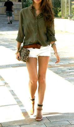 fashion, color combos, street styles, summer outfits, shorts, white short, oliv, shoe, shirt