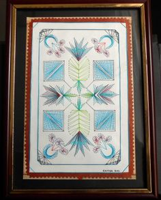 Embroidered card with Geometrical design