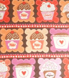 Snuggle Flannel Fabric-Cupcakes