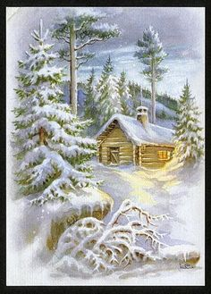 Decoupage Winter images for print Winter Images, Winter Pictures, Christmas Pictures, Nature Pictures, Christmas Scenes, Christmas Art, Winter Christmas, Illustration Noel, Christmas Illustration