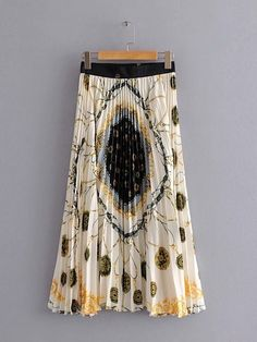 24b681677c6590 Paisley Print Pleated Skirt  skirt181122003  -  48.00   moonbaye.com Zijden  Blouses