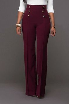 Trendy High Waist Double-breasted Decorative Wine Red Polyester Pants