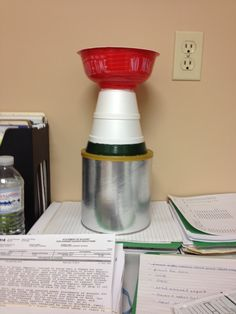 The Stanley Cup - Start with a coffee can, glue a base from a plastic flower pot, then 2 sizes of styrofoam soup bowls and top with noodle time soup bowl.