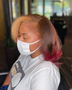 Pressed Natural Hair, Dyed Natural Hair, Natural Hairstyles, Pretty Hairstyles, Natural Hair Highlights, Silk Press, Types Of Curls, Coloured Hair, Braids For Black Hair