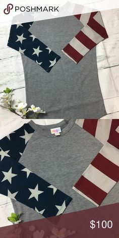 NWOT HTF LuLaRoe Randy Flag Baseball Tee XXS NWOT HTF LLR American Flag Randy Baseball Tee, size XXS. 🇺🇸 I took the tags off and tried it on but never actually wore it.  Selling to fund something special, if it doesn't sell I'll keep.   Price is firm. LuLaRoe Tops Tees - Long Sleeve