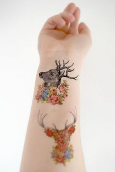 3 Floral Deer Temporary Tattoo's - Woodland, Floral Collection, Spring, Spring Accessories, Vintage, Vintage Tattoo, Wild Flowers