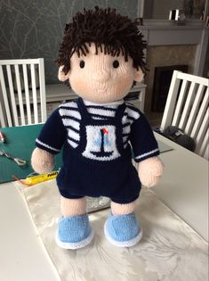 Boy Blue, Knitting Projects, Teddy Bear, Toys, Animals, Activity Toys, Animales, Animaux, Clearance Toys