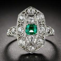 Art Deco Emerald and Diamond Ring - Art Deco Jewelry - Vintage Jewelry