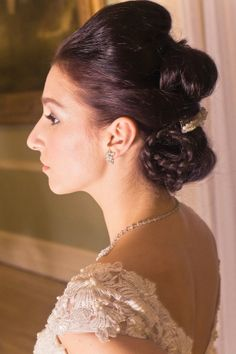 Chic & intricate bridal up do hairstyle with plaits by @tphaircompany