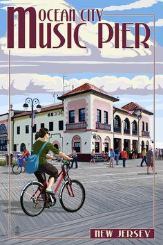 "Ocean City, New Jersey - Music Pier - Lantern Press Poster - 7"" x ..."