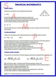 This is a one page handout that summarizes simple interest, compound interest and ordinary simple annuities. All of my math summary sheets can be found in one PDF file. Teaching Math, Maths, First Page, Summary, Mathematics, Finance, College, Let It Be, Education