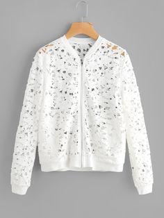 Shop Zip Up Cutout Lace Jacket online. SheIn offers Zip Up Cutout Lace Jacket & more to fit your fashionable needs.