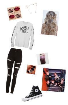"""why dont we"" by nevaehjazz on Polyvore featuring Topshop, Converse and Cara"