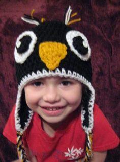 Penguin crochet earflap hat