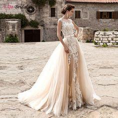 Champagne Elegant Lace Sheath Wedding Dress With Detachable Train Cap Sleeve Transparent Tulle Bride Gowns 2017 Z766