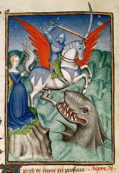 Perseus, riding on Pegasus, kills the dragon to rescue Andromeda. Epistre Othea (Queen's) Manuscript, Christine de Pizan. 15th C., France.