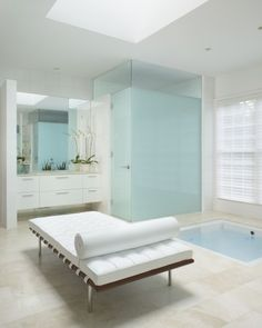 bench in master bath  contemporary bathroom by EuroCraft Interiors Custom Cabinetry