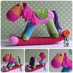 I can't help to myself and made one colorful rocking horse :)