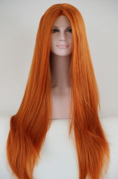 FREE SHIPPING Wholesale Glueless U part very long Orange Silk Straight Heat Resistant Hair Synthetic Lace Front Wig-in Synthetic Wigs from Health & Beauty on Aliexpress.com | Alibaba Group
