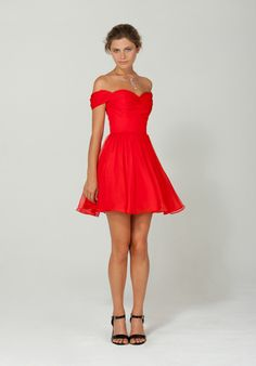 Short, off shoulder formal dress. Definitely in a different color
