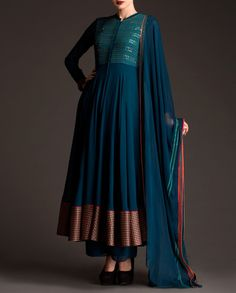Teal Green Anarkali Suit with Embroidered Pattern