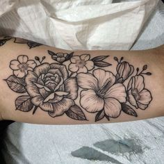 Floral roses and hibiscus flower tattoo