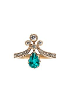 "Brides: Trumpet & Horn. ""Emerald Tiara"" ring, price upon request, Trumpet & Horn"