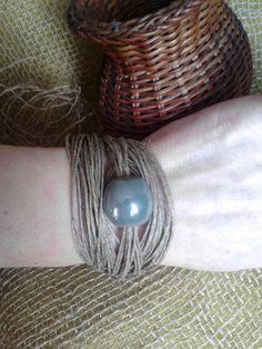 Women's bracelet,ceramics and linen, organic jewelry, ecological, ecofriendly, allergy bracelet, bio Schmuck, Armband, organische Schmuck