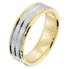 I wouldn't mind if my husband wanted to wear a nice, simple, two toned wedding ring like this.