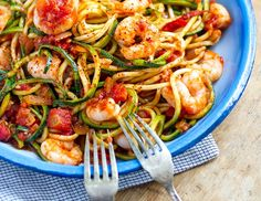 Prawn Arrabbiata With Zucchini Spaghetti | Eat Drink Paleo