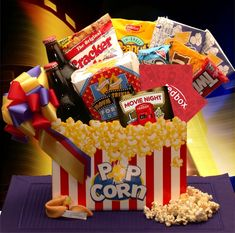 More - Movie Madness Snack Gift Basket - Medium. Movie Madness Snack Gift Basket - MediumYou'll find old-time movie going goodness in the Movie Madness gift basket. Homemade Gift Baskets, Gourmet Gift Baskets, Gourmet Gifts, Homemade Gifts, Popcorn Gift Baskets, Homemade Products, Movie Basket Gift, Movie Night Gift Basket, Movie Gift
