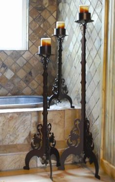 Ornamental Leaf Design Rustic Floor Candlestick in 30-40-50 inch sizes & Made in the USA!