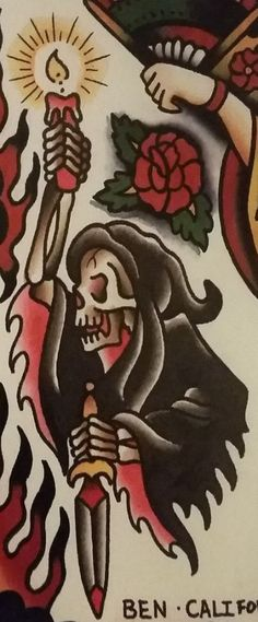 """Traditional/old school tattoo, Jeromey """"tilt"""" McCulloch, Ben Cheese, grim reaper… - Tattoo Traditional Tattoo Old School, Traditional Style Tattoo, Traditional Tattoo Flash, Traditional Tattoo Grim Reaper, Dessin Old School, Old School Ink, Body Art Tattoos, Tattoo Drawings, Sleeve Tattoos"""