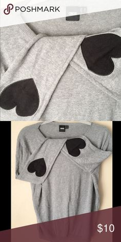 ASOS Crew Sweatshirt ASOS crew sweatshirt w/black heart patch on the elbows. Used once great condition! ASOS Sweaters Crew & Scoop Necks
