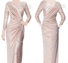 2014 Sexy Long Sleeves Chiffon Jewel Lace Pearl Pink Ruffle Evening Dresses Mother of the Bride Dress 339