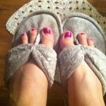 Check out my super cute new slippers I got in Waco yesterday! They are DearFoams. I need a pedicure!
