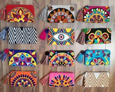 Check out our mochila clutch bags selection for the very best in unique or custom, handmade pieces from our shops. Mexican Embroidery, Embroidery Bags, Hand Embroidery Designs, Punch Needle Kits, Punch Needle Patterns, Leather Bags Handmade, Handmade Bags, Diy Broderie, Crochet Dolls