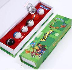 6 Pcs Anime Pokemon Cosplay Metal Pokeballs Pendants Keychain Necklaces in Box #Unbranded