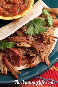 Carnitas Shredded Pork (slow cooker and stove top methods) -- a low-fat tasty recipe for use in tacos burritos enchiladas & Pork Recipes, Slow Cooker Recipes, Crockpot Recipes, Cooking Recipes, Healthy Recipes, Cooking Pork, Recipies, Cooking Kale, Oven Recipes