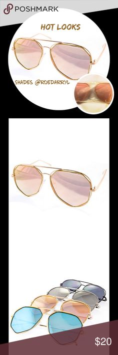 ☄JUST IN 7 Sided Aviator Sunglasses Wear these for a perfect blend between classic and modern.                                                                     Womens Fashion Sunglasses UV400 Protection Assorted Colors Great Quality Polycarbonate Lens One Size Fits Most Boutique Accessories Glasses