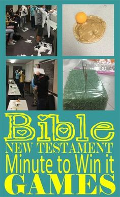 New Testament Bible Minute to Win it Games. Great for Seminary, Mutual, Primary … New Testament Bible Minute to Win it Games. Great for Seminary, [. Sunday School Activities, Youth Activities, Church Activities, Sunday School Lessons, Sunday School Crafts, Bible Lessons For Kids, Bible For Kids, Youth Lessons, New Testament Bible