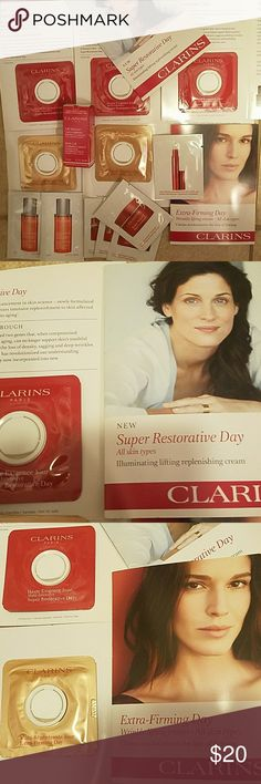 Clarins Sample Travel lot 15 pieces ❤ 4 Super Restorative Day 3 Extra Firming Day 4 Instant Smooth Perfecting Touch 2 Mission Perfection Serum 1 Instant Smooth Line Correcting Concentrate 1 Body Lift Cellulite Control Clarins Other