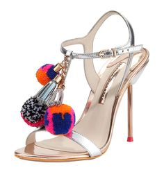 These pom poms on Sophia Webster's strappy sandals are basically a party on your feet.