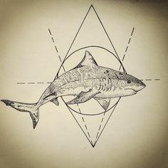 #stippling #shark #tattoo #draw #ideia #ink #pen #geometric #jaws #amazing