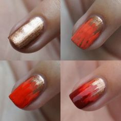 Lovely gold to red brush design nail art tutorial - simple & quick...x