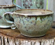 Personalized Latte Mug - Made To Order Pottery - Crop Circle Latte or Soup Mug in Robin's Egg glazes. $44.00, via Etsy.