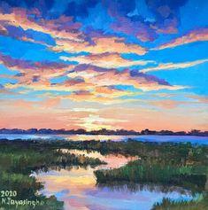 Original Landscape Painting by Nina Jayasinghe Easy Landscape Paintings, Watercolor Art Landscape, Landscape Art, Landscapes To Paint, Easy Nature Paintings, Bright Paintings, Sunset Landscape, Guache, Diy Canvas Art